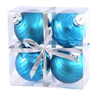 Turquoise Plastic 3-inch Glitter Swirl Ball Ornament (Pack of 4)