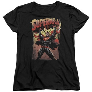 Superman/Lift Up Short Sleeve Women's Tee in Black