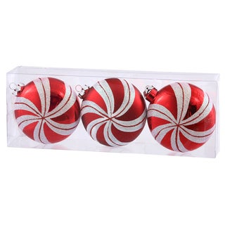 Red/White Plastic 3.75-inch Candy Cane Flat Ball Ornaments (Pack of 3)