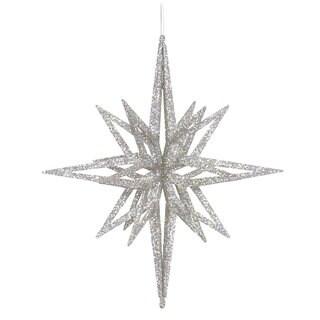 "12"" Silver 3D Glitter Star Ornament"