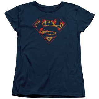 Superman/Super Distressed Short Sleeve Women's Tee in Navy