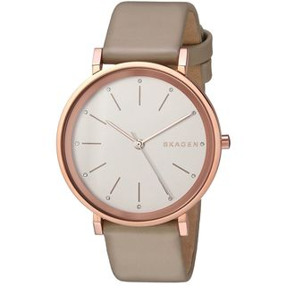 Skagen Women's SKW2489 'Hald' Crystal Beige Leather Watch