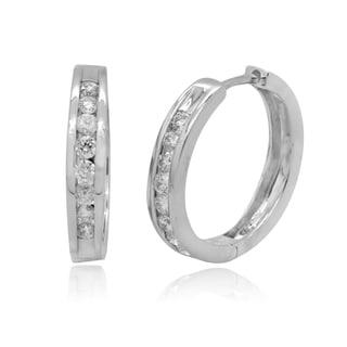10k White Gold 3/4ct TDW Round Diamond Channel Hoop Earrings (H-I, I2-I3)