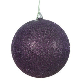 Plum 4-inch Glitter Ball Ornament (Pack of 6)
