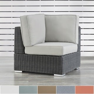 NAPA LIVING Barbados Wicker Outdoor Cushioned Grey Charcoal Sectional Corner Chair