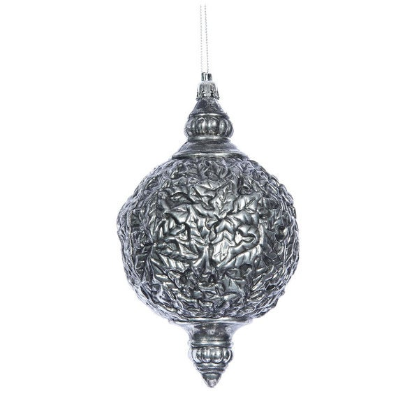 antique silver sculptured 65 inch drop ornament pack of 4 - Antique Silver Christmas Decorations