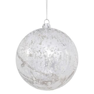 Silver Plastic 4-inch Shiny Mercury Ball Ornament (Pack of 6)