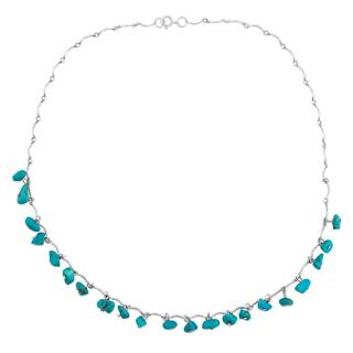 Sterling Silver and Tuquoise Beaded Necklace - Blue
