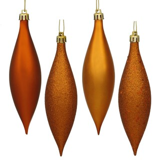 Burnished Orange 5.5-inch 4 Finish Assorted Ornaments (Pack of 8)