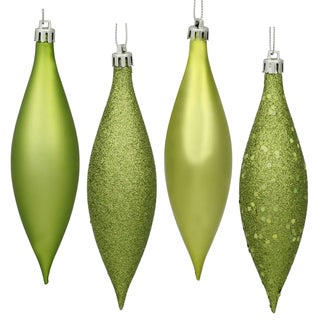 Lime Green Plastic 5.5-inch Assorted Finish Drop Ornaments (Pack of 8)