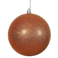 Burnished Orange 4-inch Glitter Ball Ornament (Pack of 6)