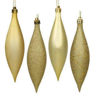 Gold Assorted-finish 5.5-inch Drop Ornaments (Pack of 8)