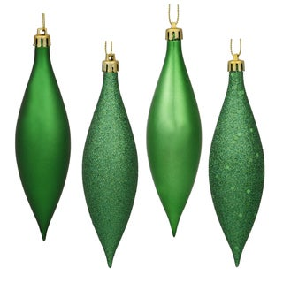 Green 5.5-inch Drop 4-finish Assorted Ornaments (Pack of 8)