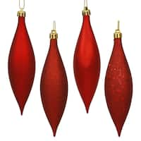Red 5.5-inch Drop 4-Finish Assorted Ornaments (Pack of 8)