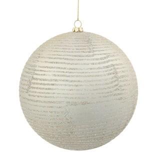 Champagne Plastic 5.5-inch Matte-Glitter Ball Ornament (Set of 2)