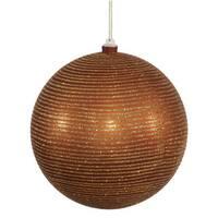 Copper Plastic 5.5-inch Matte/Glitter Ball Ornament (Set of 2)