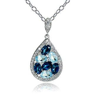 Glitzy Rocks Sterling Silver London Blue, Blue and White Topaz Cluster Teardrop Necklace