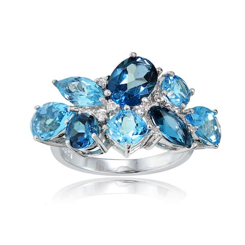 Glitzy Rocks Sterling Silver London Blue, Swiss Blue and White Topaz Cluster Ring