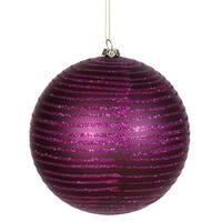 Plum-colored Matte-Glitter Plastic Ball Ornament (Pack of 2)
