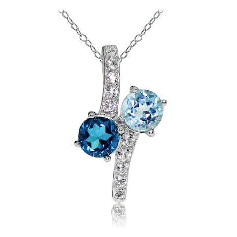 Glitzy Rocks Sterling Silver London Blue, Blue and White Topaz Friendship Necklace