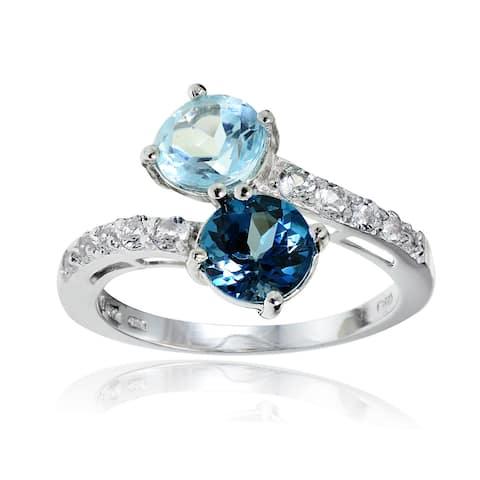 Glitzy Rocks Sterling Silver London Blue, Blue and White Topaz Friendship Ring