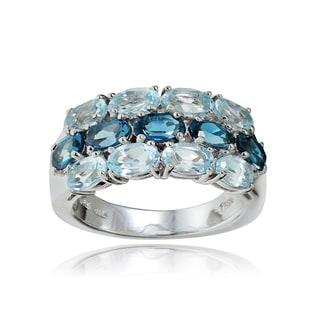 Glitzy Rocks Sterling Silver London Blue and Blue Topaz 3-Row Ring