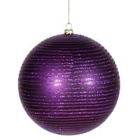 Purple Plastic 5.5-inch Matte/Glitter Ball Ornaments (Set of 2)