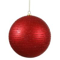 Red Plastic 5.5-inch Matte/Glitter Ball Ornaments (Set of 2)