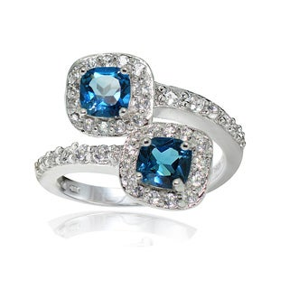 Glitzy Rocks Sterling Silver London Blue and White Topaz Cushion-cut Friendship Ring