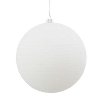 "5.5"" White Matte-Glitter Ball Ornament (Pack of 2)"