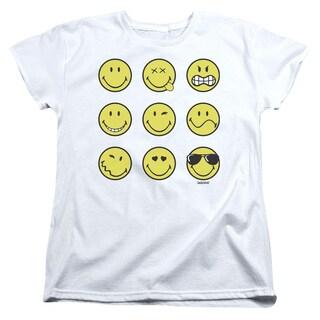Smiley World/Nine Faces Short Sleeve Women's Tee in White