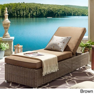 Barbados Wicker Outdoor Cushioned Brown Mocha Adjustable Chaise Lounge Chair by NAPA LIVING