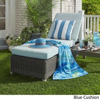 Barbados Wicker Outdoor Cushioned Grey Charcoal Adjustable Chaise Lounge Chair iNSPIRE Q Oasis