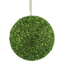 Lime Green Plastic/Sequin Glitter 6-inch Ball Ornaments (Set of 2)
