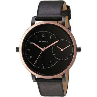 Skagen Women's SKW2475 'Hagen' Dual Time Black Leather Watch|https://ak1.ostkcdn.com/images/products/12708885/P19490241.jpg?impolicy=medium
