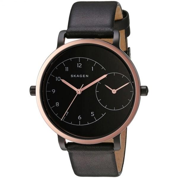 Skagen Women's SKW2475 'Hagen' Dual Time Black Leather Watch