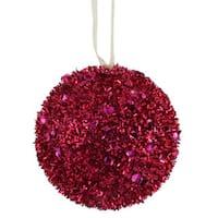 Cerise Plastic 3-inch Sequin Glitter Ball Ornament (Pack of 6)
