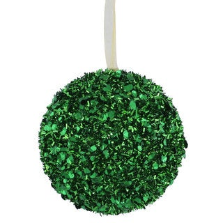 Green 3-inch Sequin Glitter Ball Ornaments (Pack of 6)