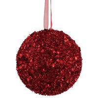 Red Plastic 3-inch Sequin Glitter Ball Ornament (Pack of 6)