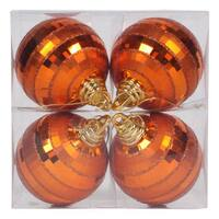 Burnished Orange Shiny-Matte Mirror 4-inch Ball Ornament (Pack of 4)