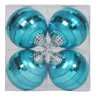 Teal Plastic 4-inch Shiny/Matte Mirror Ball Ornaments (Pack of 4)