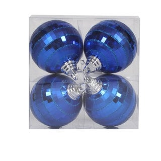 Blue Plastic 4-inch Shiny/Matte Mirror Ball Ornaments (Pack of 4)