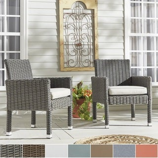 NAPA LIVING Barbados Wicker Patio Cushioned Dining Arm Chair (Set of 2)