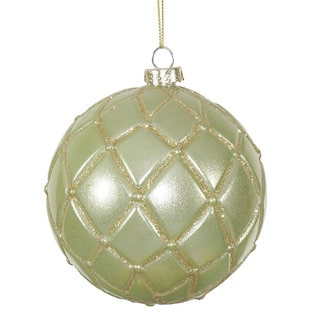 Celadon 4-inch Candy Glitter Net Ball Ornament (Pack of 6)