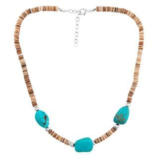 Sterling Silver Heishi Shell Turquoise Nugget Necklace