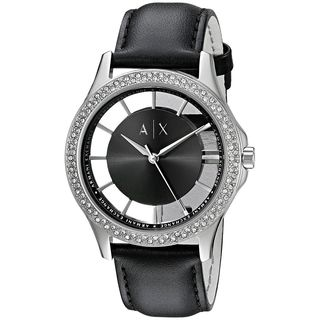 Armani Exchange Women's AX5253 'Smart' Crystal Black Leather Watch