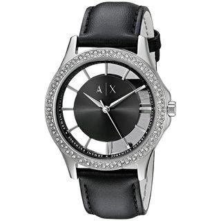 Armani Exchange Women's AX5253 'Smart' Crystal Black Leather Watch