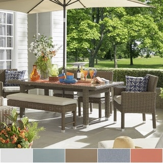 Barbados Brown Mocha Wicker Glass Top 6-piece Rectangular Dining Set by NAPA LIVING
