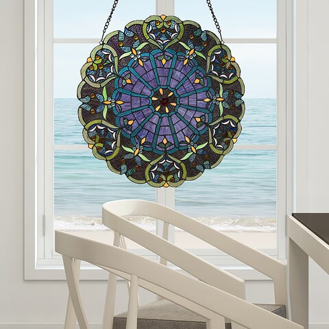 River of Goods Stained Glass Webbed Heart 22-inch Window Panel