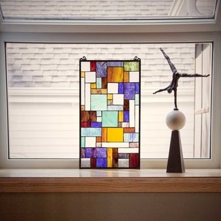 River of Goods Multicolored Stained Glass 23-inch Mod Collage Window Panel